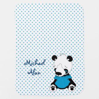 Cute Panda Bear Personalized Polka Dot Baby Blanket