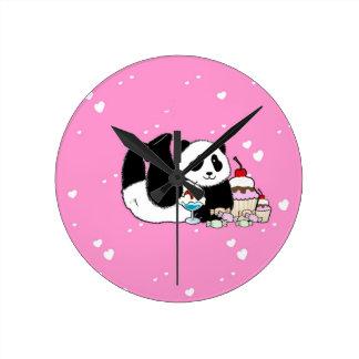 Cute Panda Bear Picnic Round Clock