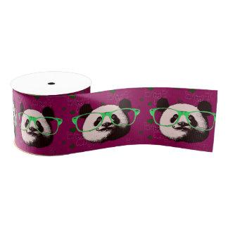 Cute Panda Bears Funny Personalised Grosgrain Ribbon