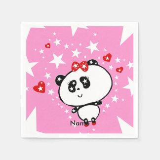 Cute Panda Bears Funny Personalised Paper Napkin