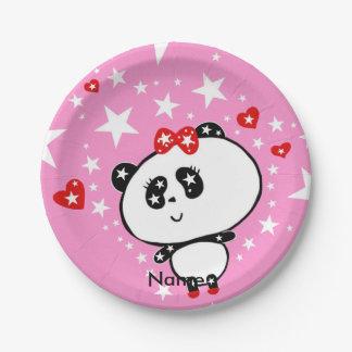Cute Panda Bears Funny Personalised Paper Plate