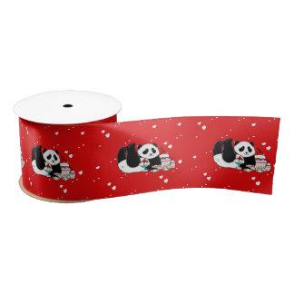 Cute Panda Bears Funny Personalised Satin Ribbon