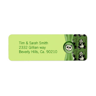 Cute Panda Bears, Green Baby Shower Return Address Label