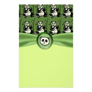 Cute Panda Bears, Green Baby Shower Custom Stationery