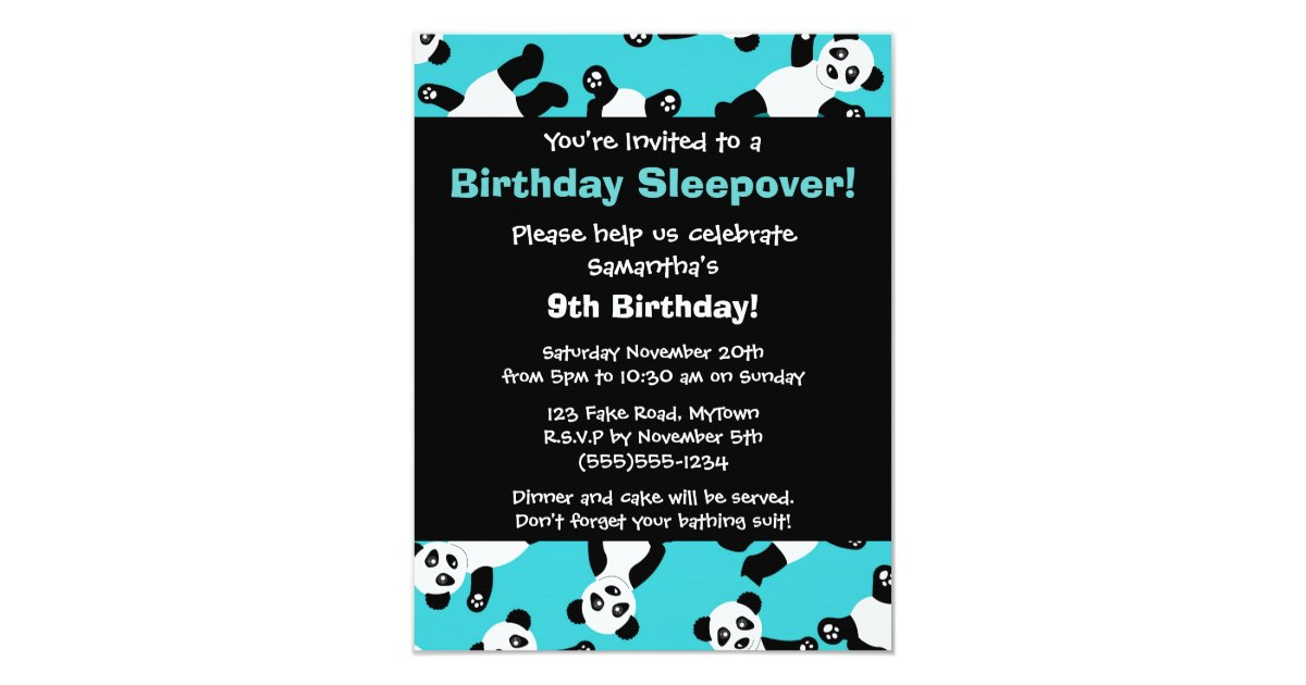 Cute Panda Birthday Sleepover Party Invitation Zazzle Com Au