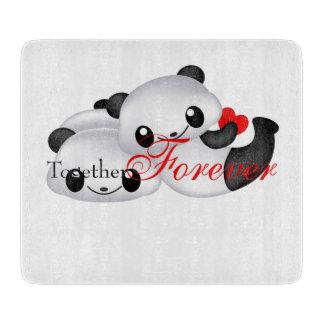 Cute panda couple cutting board