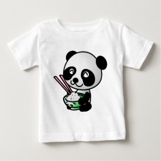 Cute Panda Eating Rice from Bowl with Chopsticks Infant T-Shirt