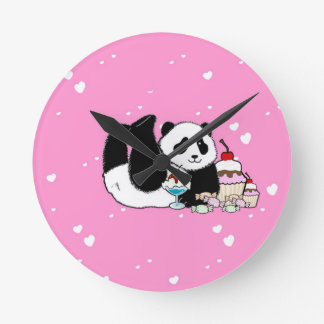 Cute Panda enjoying cakes and sweets pink Wall Clocks