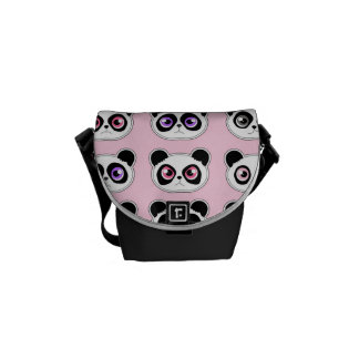 Cute Panda Expressions Pink Courier Bags