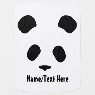 Cute Panda Face Name Customize Baby Blanket