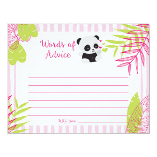Cute Panda Girl Baby Shower Words of Advice Cards