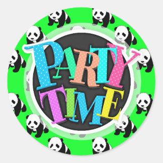 Cute Panda; Neon Green, Black & White Round Sticker