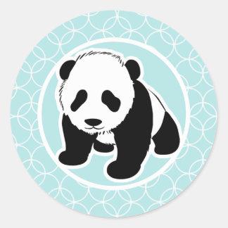 Cute Panda on Baby Blue Circles Round Sticker
