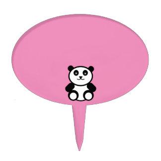 Cute Panda on Pastel Pink Cake Toppers