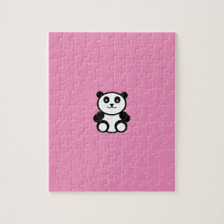 Cute Panda on Pastel Pink Jigsaw Puzzle