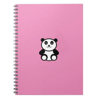 Cute Panda on Pastel Pink Notebook