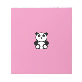 Cute Panda on Pastel Pink Notepad
