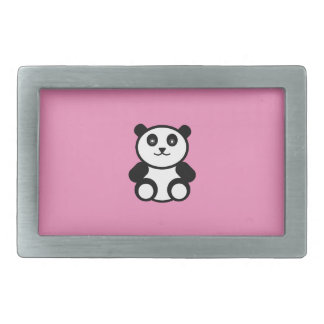 Cute Panda on Pastel Pink Rectangular Belt Buckle