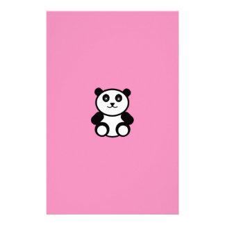Cute Panda on Pastel Pink Stationery