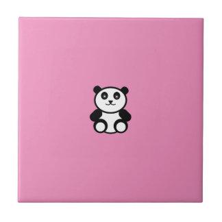 Cute Panda on Pastel Pink Tile