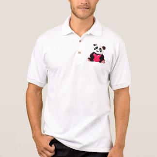 Cute panda red big heart animation cute trendy fun polo shirts