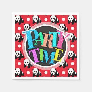 Cute Panda; Red, Black & White Polka Dots Disposable Serviette
