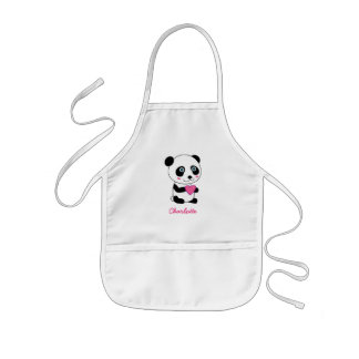 Cute Panda with a Pink Heart Personalized Kids Apron