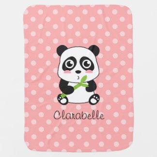 Cute Panda with Bamboo, Pink Polka Dots Baby Blanket