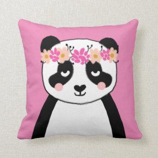 Cute Panda with Flowers girls room pillow decor Cushion
