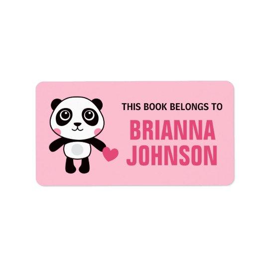Cute panda with heart animal bookplate book address label