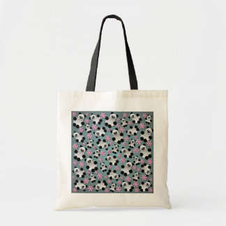 Cute Pandas and Flowers Budget Tote Bag