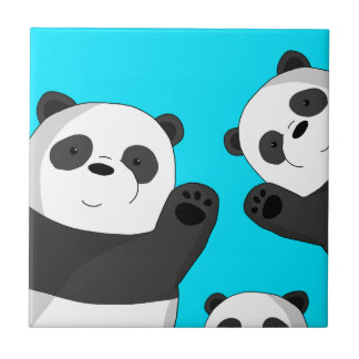 Cute pandas ceramic tile
