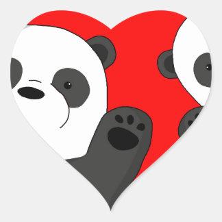 Cute pandas heart sticker