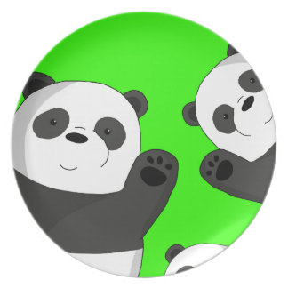 Cute pandas plate
