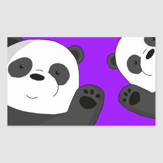 Cute pandas rectangular sticker