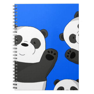 Cute pandas spiral notebook