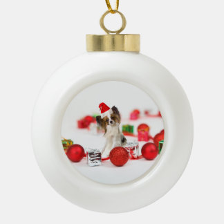 Cute Papillon Dog Christmas Santa Hat Ceramic Ball Christmas Ornament
