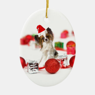 Cute Papillon Dog Christmas Santa Hat Ceramic Oval Decoration