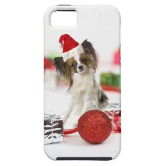 Cute Papillon Dog Christmas Santa Hat iPhone 5 Cover