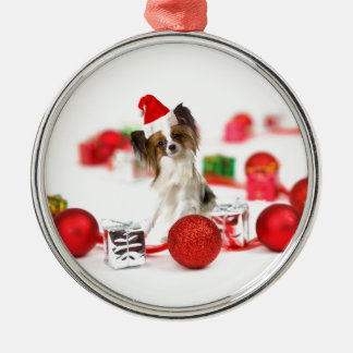 Cute Papillon Dog Christmas Santa Hat Silver-Colored Round Decoration