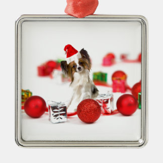 Cute Papillon Dog Christmas Santa Hat Silver-Colored Square Decoration