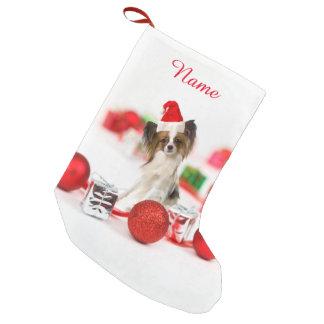 Cute Papillon Dog Christmas Santa Hat Small Christmas Stocking