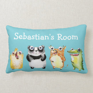 Cute Parade of Animals with Child's Name Lumbar Cushion
