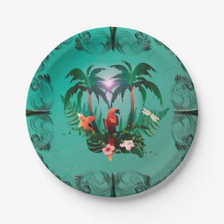 Cute parrot with flowers and palm paper plate