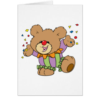 cute party clown teddy bear design card