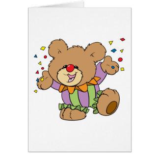 cute party clown teddy bear design greeting card
