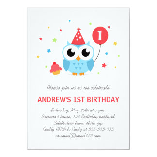 Cute party owl with balloon and cupcake birthday 11 cm x 16 cm invitation card