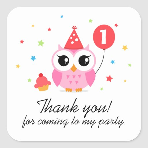Cute party owl with balloon birthday thank you square stickers