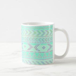 Cute Pastel Aztec Style Pattern in Teal Coffee Mug