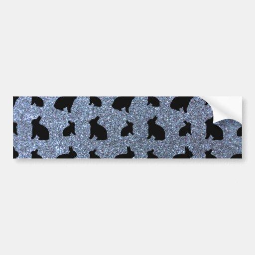 Cute pastel blue bunny glitter pattern bumper stickers